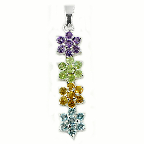 3.94 G. Natural Amethyst Peridot Citrine Topaz Real 925 Sterling Silver Pendant