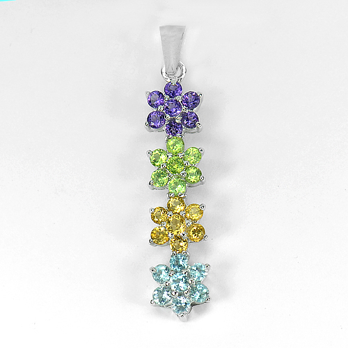 4.04 G. Natural Gems Amethyst Peridot Citrine Topaz 925 Sterling Silver Pendant