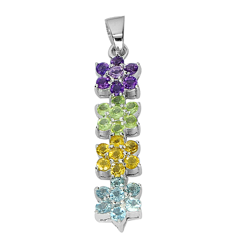 3.98 G. Natural Gem Amethyst Peridot Citrine Real 925 Sterling Silver Pendant