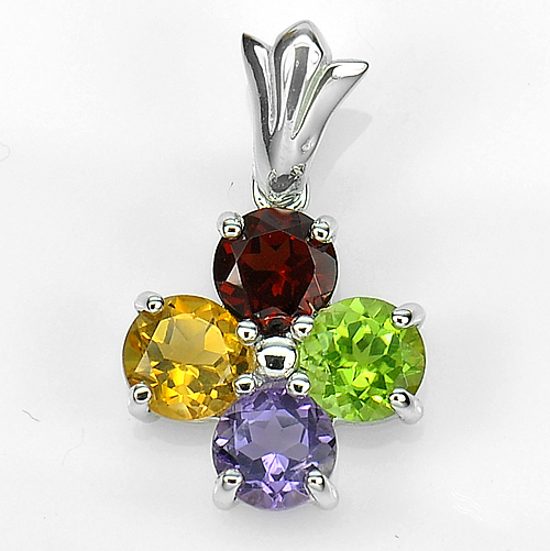 2.62 G. Natural Gems Amethyst Peridot Citrine Real 925 Sterling Silver Pendant