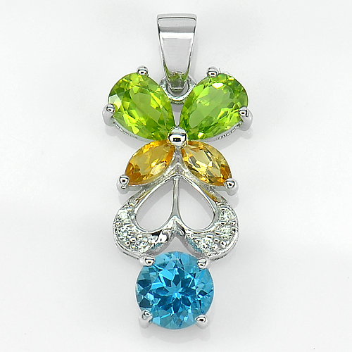 2.91 G. Natural Gemstone Topaz Peridot Citrine Real 925 Sterling Silver Pendant