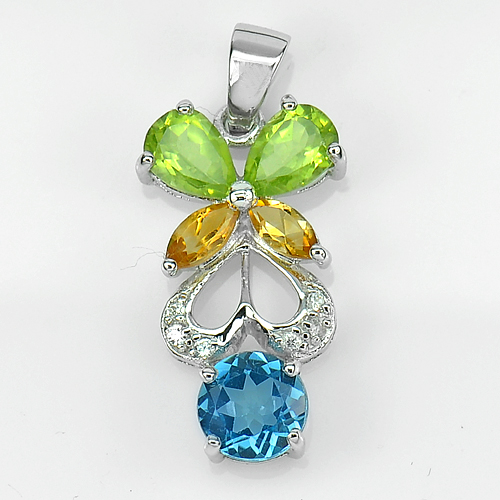 2.90 G. Beautiful Natural Topaz Peridot Citrine Real 925 Sterling Silver Pendant