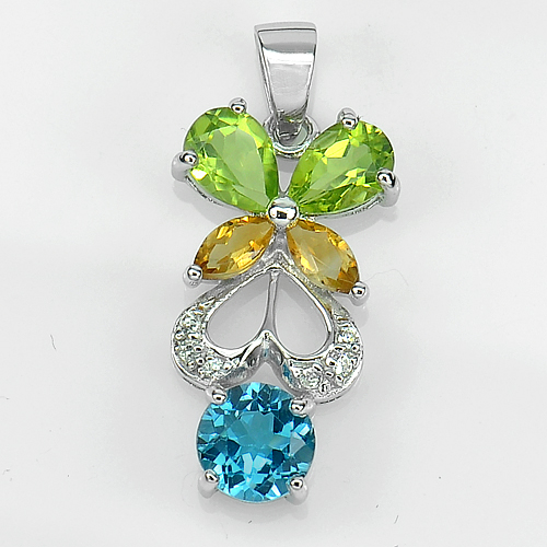 2.98 G. Natural Gems Topaz Citrine Peridot Real 925 Sterling Silver Pendant