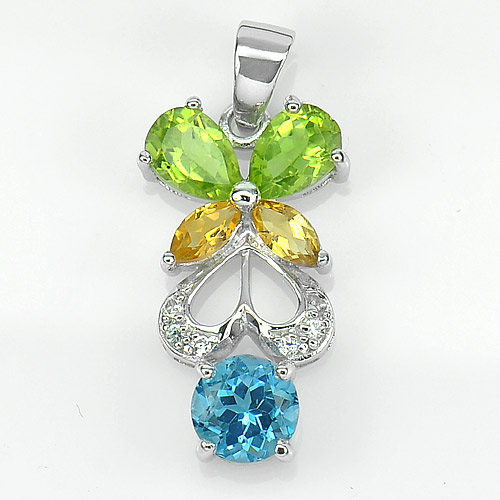 2.77 G. Real 925 Sterling Silver Pendant Beautiful Natural Citrine Peridot Topaz
