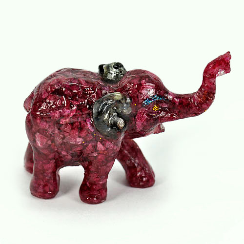 Size 2.5 x 1.5 x 1 Inch 250.00 Ct. Elephant Figure Mold Natural Ruby Sapphire