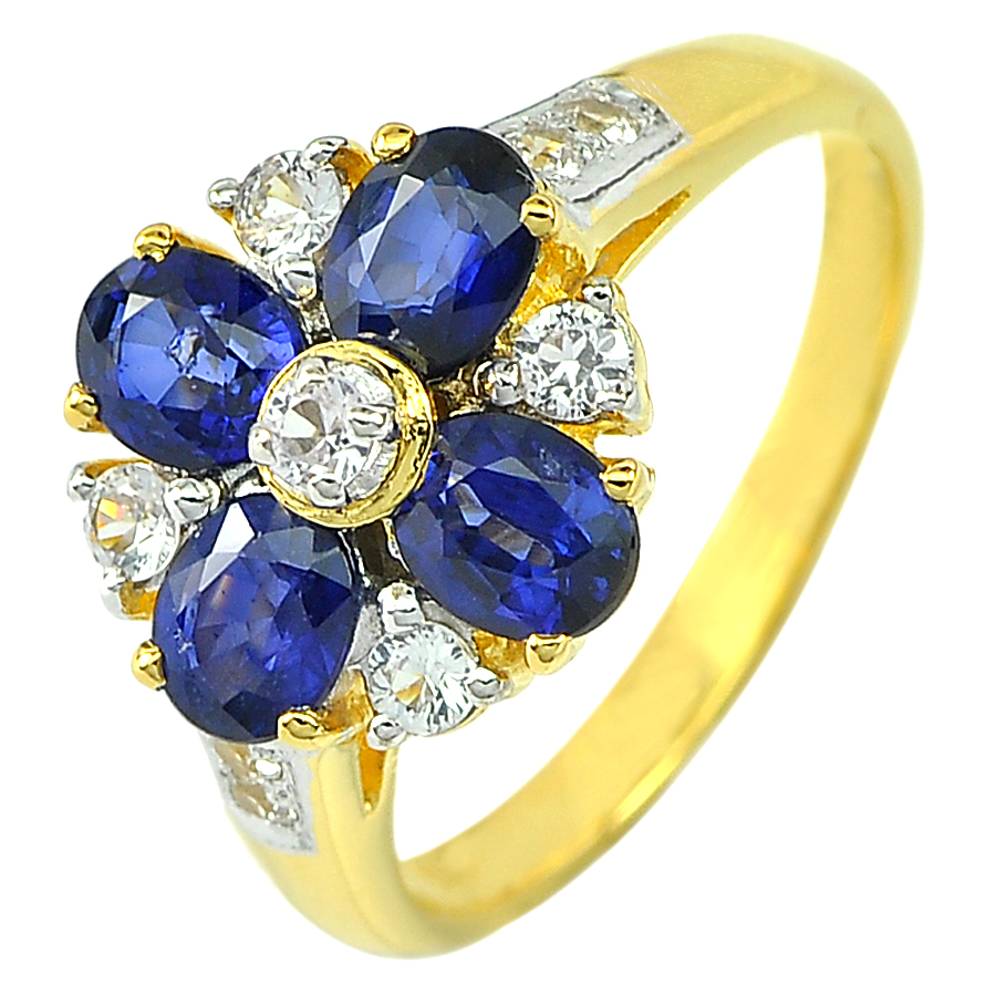 1.60 Ct. Natural Gemstone Blue Sapphire with Diamond 18K Gold Ring Size 6.5