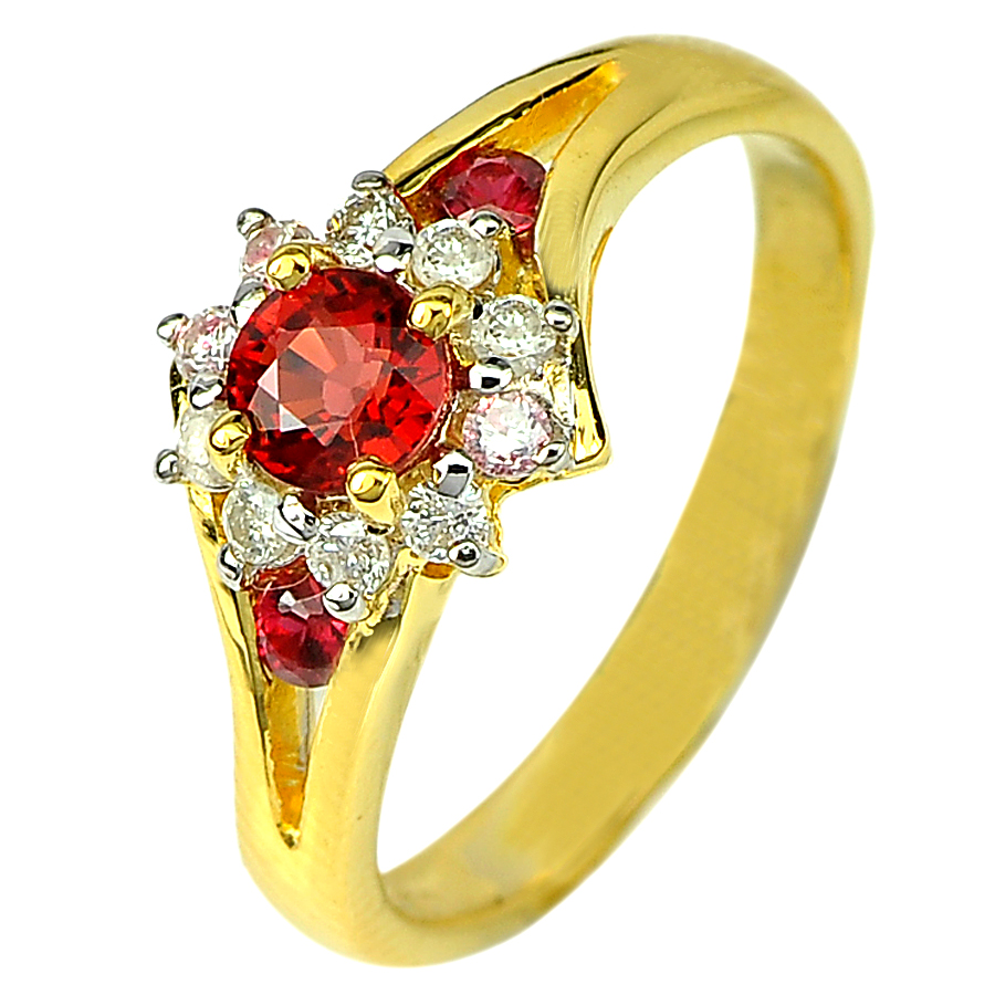 0.64 Ct. Red Sapphire & DIAMOND 18K Solid Gold Ring Size 6.5