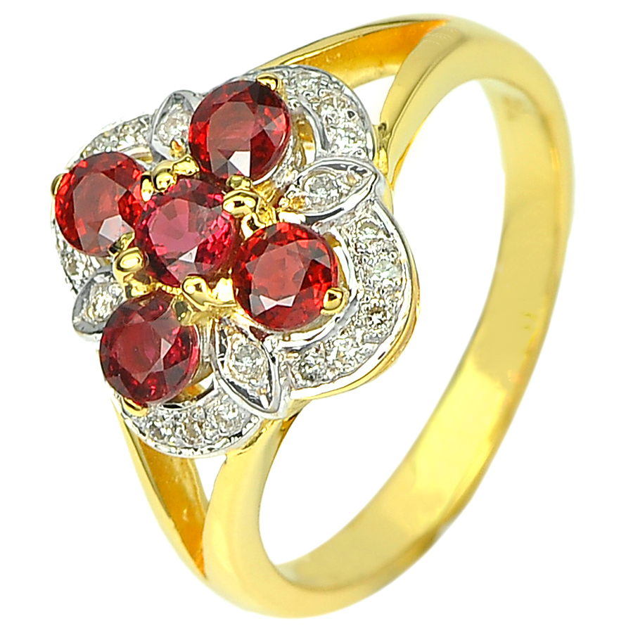 1.33 Ct. Natural Songea Red Sapphire & Diamond 18K Solid Gold Ring Size 8