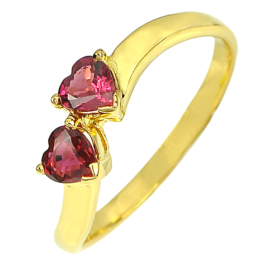 Clean Natural Gemstone Pinkish Red Ruby 18K Solid Gold Ring Jewelry Size 6.5