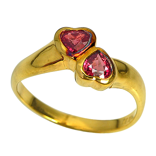 Natural Pinkish Red Ruby 18K Solid Gold Jewelry Ring Sz 6.5