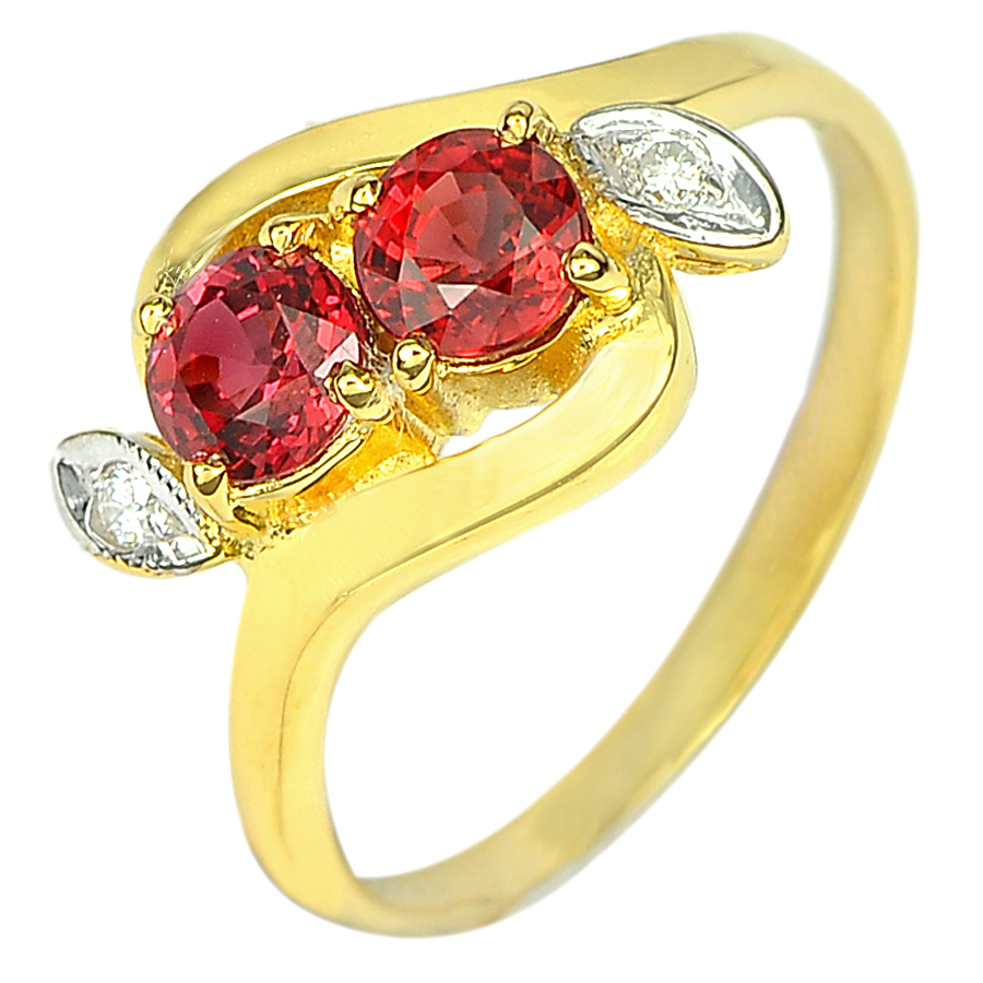 1.14 Ct. Natural Gem Red Sapphire and Diamond 18K Solid Gold Ring Size 6.5