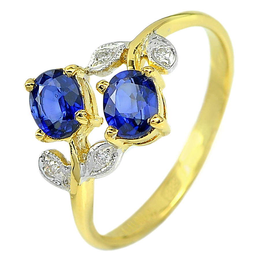 1.33 Ct. Natural Gemstone Blue Sapphire and White Diamond 18K Solid Gold Ring