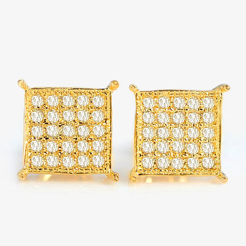 1.18 G. Natural White Diamond 10K Solid Gold Earring