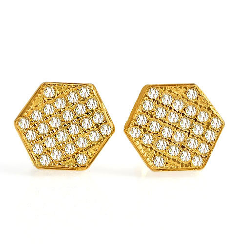 0.95 G. Natural Loose Diamond 10K Solid Gold Earring