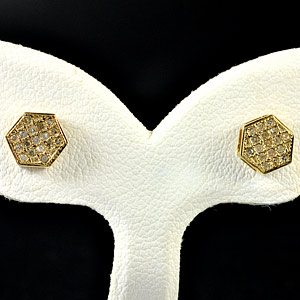 0.83 G. Natural White Diamond 10K Solid Gold Earring