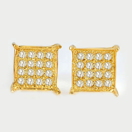 0.97 G. Natural Loose Diamond 10K Solid Gold Earring