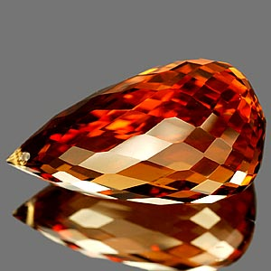 22.46 Ct. Briolette Cut Clean Quartz Citrine Color Gem