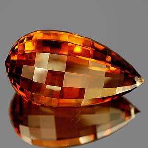 26.30 Ct. Briolette Cut Clean Quartz Citrine Color Gem