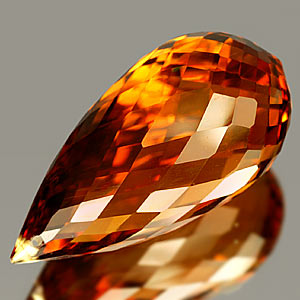 19.11 Ct. Briolette Cut Clean Quartz Citrine Color Gem