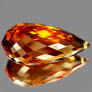 19.29 Ct. Briolette Cut Clean Quartz Citrine Color Gem