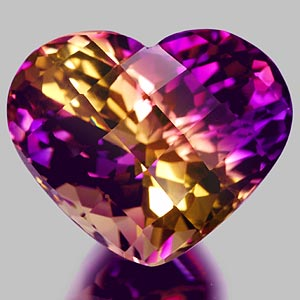 27.88 Ct. Clean Hydrothermal Bi Color Ametrine Heart Checkerboard Unheated