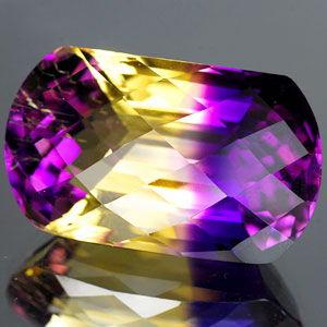 27.51 Ct. Hydrothermal Bi Color Ametrine Cushion Checkerboard Unheated