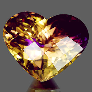 24.85 Ct. Heart Checkerboard Bi Color Ametrine Bolivia