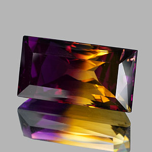 31.35 Ct. Clean Baguette Hydrothermal Bi Color Ametrine