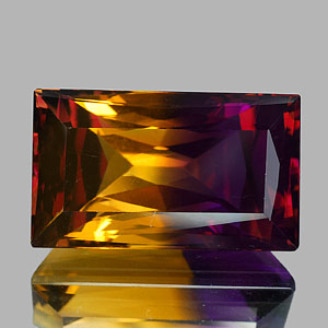 31.49 Ct. Clean Baguette Hydrothermal Bi Color Ametrine
