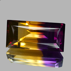 23.78 Ct. Clean Baguette Hydrothermal Bi Color Ametrine