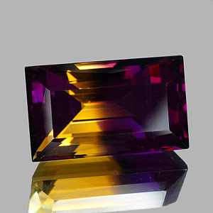28.77 Ct. Clean Baguette Hydrothermal Bi Color Ametrine