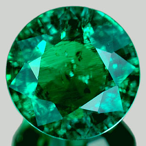 1.21 Ct. 7.1 Mm. Round Green Emerald Created Russia