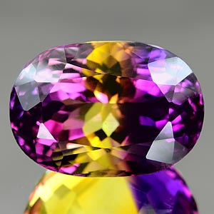 35.49 Ct. Clean Oval Hydrothermal Bi Color Ametrine Gem
