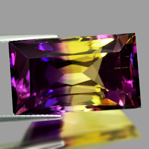 31.83 Ct. Clean Baguette Hydrothermal Bi Color Ametrine