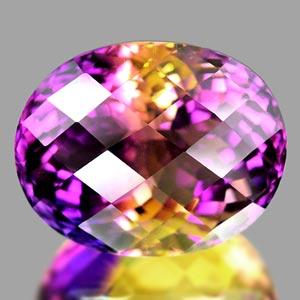 38.49 Ct. Clean Hydrothermal Bi Color Ametrine Oval Checkerboard Unheated