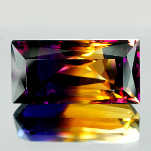31.36 Ct IF Baguette Hydrothermal Bi Color Ametrine Gem