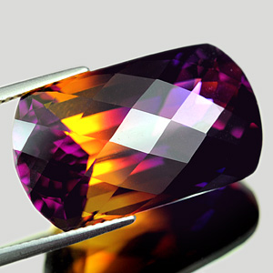 30.88 Ct. Clean Fancy Checkerboard Hydrothermal Bi Color Ametrine