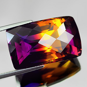 29.20 Ct. Clean Baguette Checkerboard Hydrothermal Bi Color Ametrine Gem