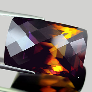 31.85 Ct. Clean Baguette Checkerboard Hydrothermal Bi Color Ametrine Gem