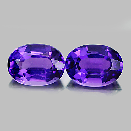 1.49 Ct. 2 Pcs. Nice Oval Natural Gems Purple Amethyst Brazil