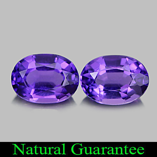 1.43 Ct. 2 Pcs. Delightful Oval Natural Gems Purple Amethyst Brazil