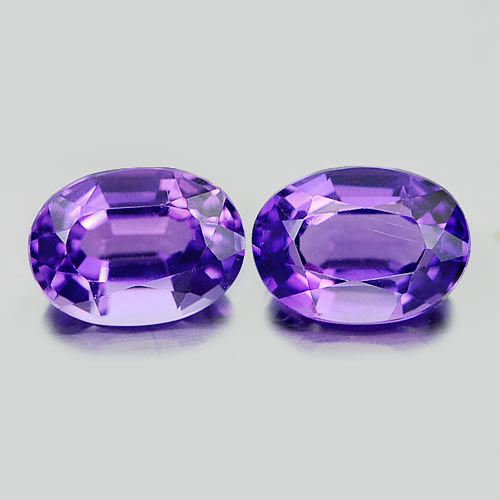 1.44 Ct. 2 Pcs. Delightful Natural Gems Purple Amethyst Oval Shape