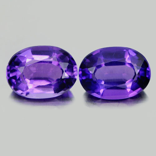 1.35 Ct. 2 Pcs. Nice Oval Natural Gems Purple Amethyst Brazil