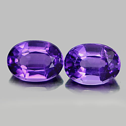 1.54 Ct. 2 Pcs. Nice Oval Natural Gems Purple Amethyst From Brazil