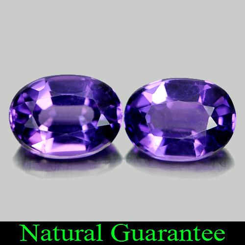 1.49 Ct. 2 Pcs. Good Natural Gems Purple Amethyst Oval Shape