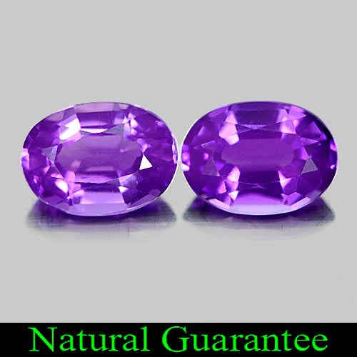 1.53 Ct. 2 Pcs. Delightful Oval Natural Gems Purple Amethyst Brazil