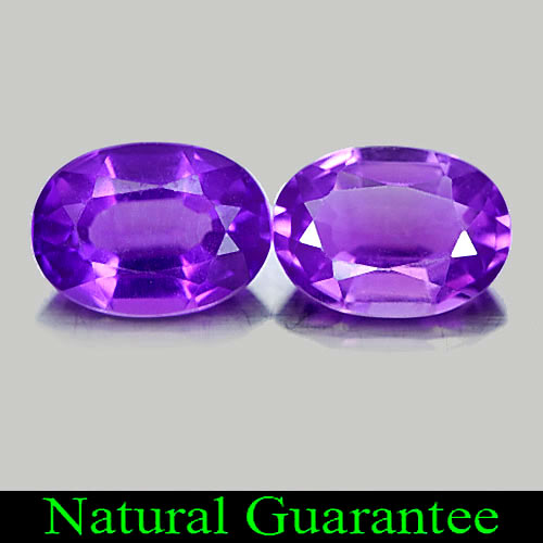 1.37 Ct. 2 Pcs. Oval Natural Gems Purple Amethyst From Brazil