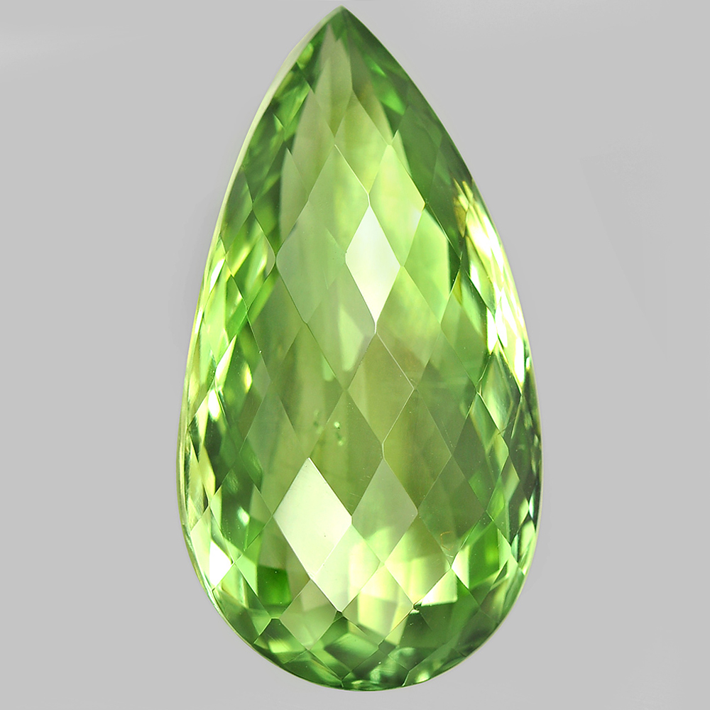 Unheated 29.82 Ct. Pear Checkerboard Cut Natural Gem Green Amethyst From Brazil