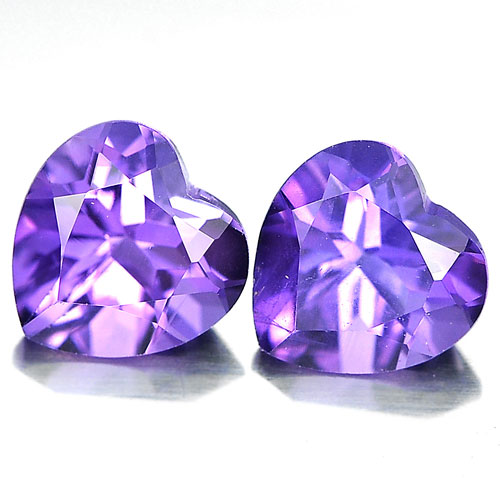 Unheated 1.48 Ct. Matching Pair Heart Shape Natural Gemstones Purple Amethyst