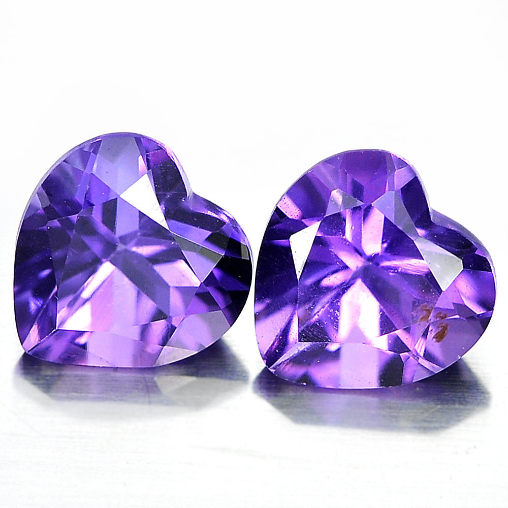 Unheated 1.44 Ct. Matching Pair Heart Shape Natural Gemstones Purple Amethyst